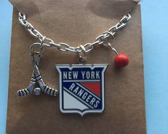 "New York Rangers 20 "" silver tone chain 3 charm hockey Necklace,"