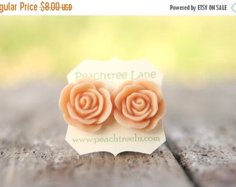 CHRISTMAS in JULY SALE Bridesmaid Jewelry Large Peach Rose Flower Stud Earrings // Bridesmaid Gifts // Vintage Wedding //  Rustic Barn Weddi