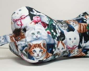 Kitty Love / Dog Bone Shaped Contoured Fabric Neck Pillow / FULLY LINED / Relieves Pressure Points / Great for TV & Travel