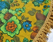 Vintage Tablecloth - Mid Century Fruit Flower Canvas Fringed - 64 Round