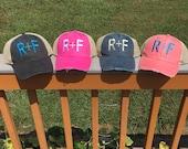 Rodan and Fields Monogram Hat, Women's R+F Distressed Trucker Hat, Rodan + Fields Baseball Cap Distressed