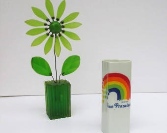 Vintage Beautiful 1980's San Francisco Monterey Hearts & Rainbow Pencil Holder Vase
