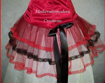 French Bustle Over Under Skirt Caplet Gothic Steampunk Unique Victorian French Maid Black Red Mesh Fishtail by Medievaltomodern