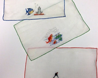 Vintage Madeira Hand Embroidered Novelty Fish With Martini Cocktail Napkins Set of 8