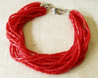 Red Bracelet, Seed Bead Bracelet, Multi Strand Bracelet