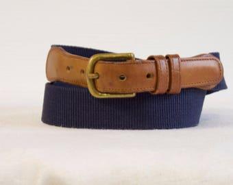 "Vintage Coach belt - Unisex blue linen belt with brown leather size 32"" (80)"