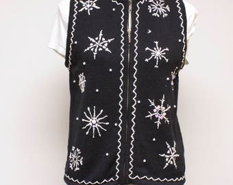 Vintage Women's Vest - Pretty or Ugly zippered Christmas vest with Snowflakes size Small by Mercer Street Studio