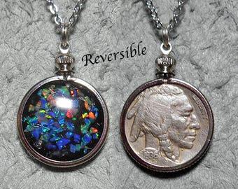 Reversible opal mosaic-indian head nickel pendant base metal setting stainless steel chain