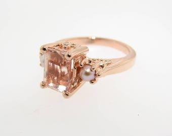 Morganite Pearl Rose Gold Ring, Old Paris Style
