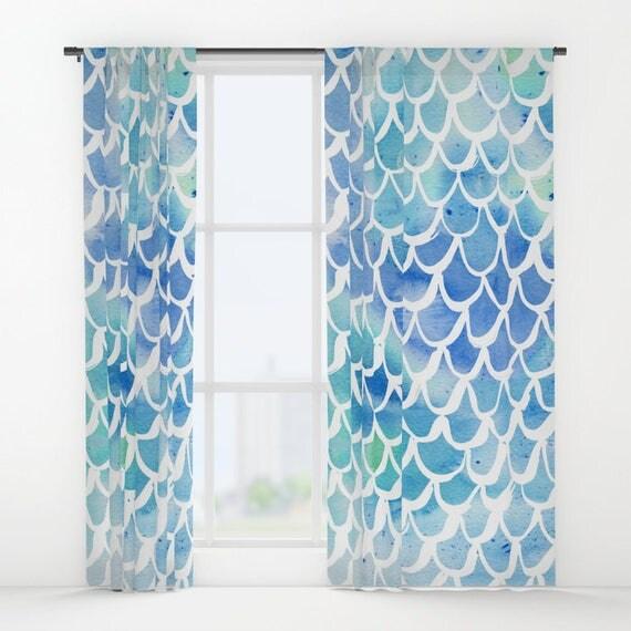 Mermaid curtains - Blue Curtains - Watercolor curtains - Window Curtains - Window Treatments - Curtain Panel - Drapes - Blue Watercolor
