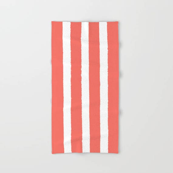 Coral and White Stripe towel - striped hand towel - salmon beach towel - hand towel - salmon Stripe bath towel - coral beach towel