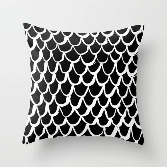 Black and White Mermaid Throw Pillow . Black Pillow . White Cushion . Mermaid Pillow . Black & White Pillow . Cushion 14 16 18 20 inch