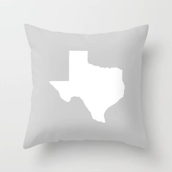 OUTDOOR Throw Pillow - Texas Outdoor Pillow - Gray patio cushion - 16 18 20 inch - Silver Texas Outside Pillow - Texan Pride - Texas State