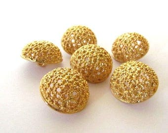 Six Vintage Gold Tone Openwork Filigree Domed Shank Buttons