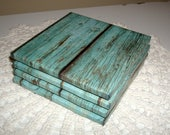 Turquoise Coasters with Image of Reclaimed Wood, Ceramic Tile Coasters, Cottage Chic Home Decor, Housewarming Gift, Rustic Coasters - 034B