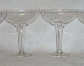Vintage Hollow Stem Champagne Glasses x4