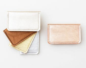 Metallic Leather Credit Card Wallet, ID Holder, Business Card Case, Leather Fold Wallet, Simple Credit Card Wallet, Leather Credit Card Case