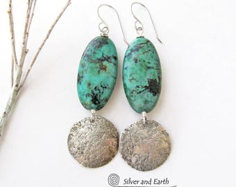 African Turquoise Earrings, Sterling Silver Earrings, Handmade Silver Jewelry, Hammered Silver Earring, Organic Earthy Natural Stone Jewelry
