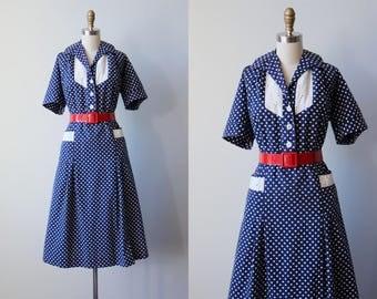 1940s Dress - Vintage 40s Dress - Volup Navy Blue Polka Dot Eyelet Cotton Day Dress XL XXL - Jaunty Jane Dress