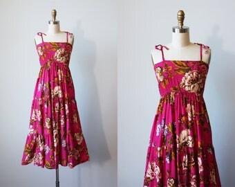 70s Dress - Vintage 1970s Dress - Vivid Rose Print Rayon Strappy Sundress XS - Trusted Friend Dress