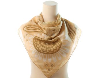 1960s BOHEMIAN Sheer Scarf . Lovely Cream and  Mustard Mod Retro Neck Scarf 26 x 26 Square 60s Mad Men Secretary Paisley Print Womens Gift
