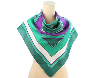 Green White Kerchief 70s Vintage MINIMALIST SCARF Purple Striped Neck Shawl 28 in Square 1970s Geometric Print Hipster Formal Gift Idea
