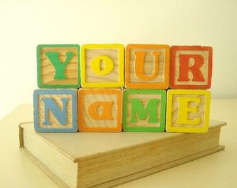 Custom alphabet blocks, modern style & colors, vintage letter blocks, maternity photo name blocks, wood blocks, gender reveal, new baby gift