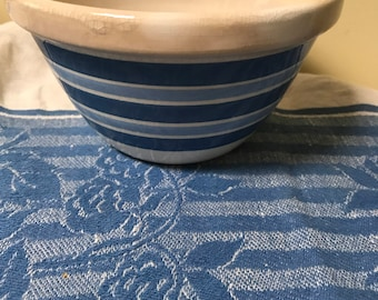 Blue & White Bowl Blue Banded Striped Bowl Blue White Decor Decorative Bowl Country Cottage Farmhouse Farm House Rustic Prairie
