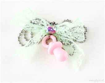 Pink Pacifier Necklace, Mint Green Ribbon, Stainless Steel Chain, Crybaby, Pastel Jewelry, Pastel Goth