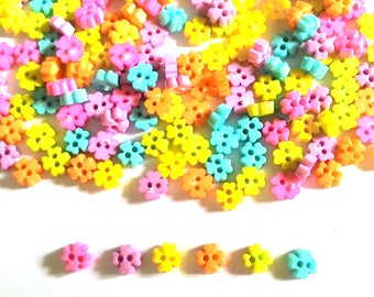100 pcs Tiny clover flower buttons mix pastel colors size 6 mm