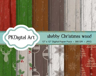 """Shabby Chic Christmas Wood Digital Paper - """"Shabby Christmas Wood""""  Scrapbook Paper Background Crafting Supplies"""