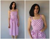 Vintage 1940s Dress | 40s Dress | 1940s Day Dress | 40s Cotton Dress | Polka Dot Dress | Cotton Midi Dress - (medium)