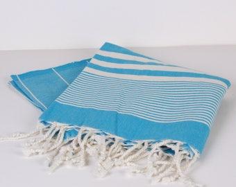 Towel for Baby, Bath Towel / Beach Towel , Cotton PESHTEMAL Cream-Blue