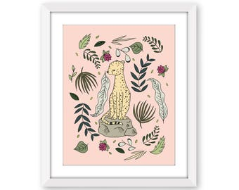 Sophisticated Nursery Art -- Cheetah Botanical -- Kids Wall Art -- Children Art -- Botanical Nursery Art -- Girls Room Decor -- Cat Art
