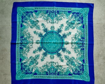 Beautiful Vintage Turquoise Cobalt & White Silky Spring and Summer Scarf with a Florentine design