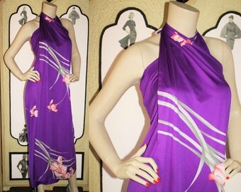 Vintage 80's Hawaiian Sarong Dress in Purple Floral by Malihini. One Size.