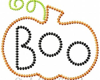 Boo Pumpkin Dot Outline Machine Embroidery Design