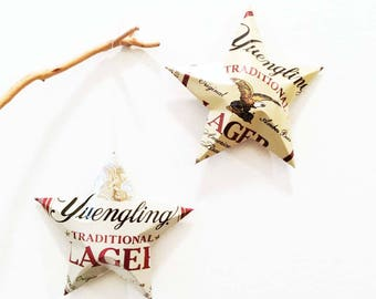 Yuengling Beer Stars Christmas Ornaments Aluminum Can Upcycled. Mancave, Gift Toppers. Unique Gift Idea