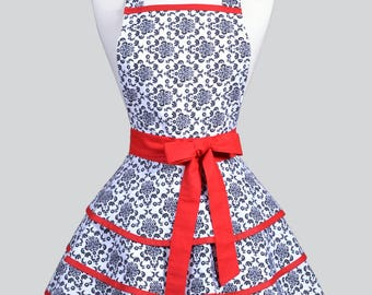 Womens Ruffled Retro Apron . Black and White Damask with Red Womans Cute Vintage Pin Up Flirty Kitchen Apron to Personalize or Monogram