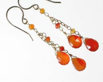 Orange Drop Earrings, Carnelian Earrings, Orange Cascade Earrings, Gift For Her, July Birthstone