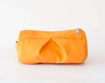 Makeup bag in orange canvas, toiletry case cosmetic storage case accessory bag in cotton canvas - Estia Bag