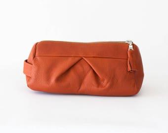 Burnt orange makeup bag leather, pencil case accessory bag cosmetic case toiletry case vanity bag utility case travel zipper case -Estia Bag