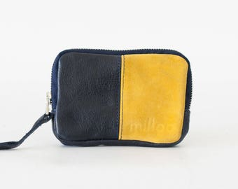 Leather coin purse in blue and yellow, small zipper pouch zipper phone case money bag - The Myrto Zipper pouch