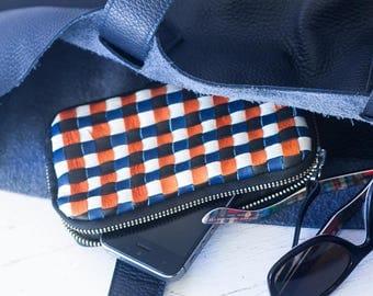 Handwoven black zipper pouch, coin purse zipper phone case money bag iphone 7 case credit card zip purse handbag - The Antheia Zipper pouch