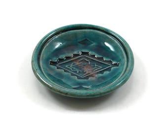 Native American Design Offering Bowl  Handmade Raku Pottery