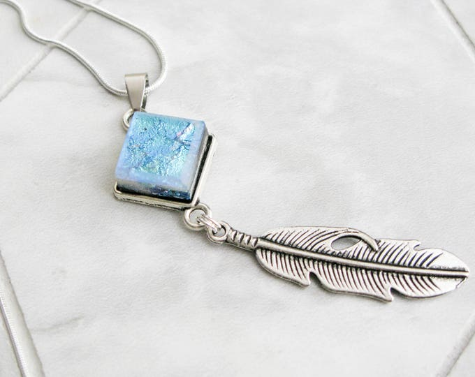 bohemian necklace silver feather charm jewelry, cowgirl jewelry, boho style, dichroic glass, southwestern style, gifts for girlfriend