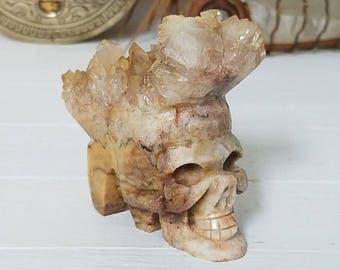 Chrysanthemum Stone Crystal Skull - Small