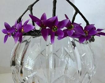 ON SALE Purple Flower Crown, Flower Tiara, Hair Accessory, Wedding, Halloween, Fairy Crown, Bridal Party, Fairy Costume, Fairy Wedding