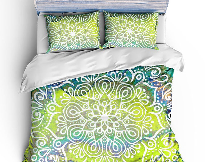 Chartreuse Colored Mandala Bedding, Boho Chic Bedding, Hippie Chic bed set, grad gift, teen room decor, mandala bed set, housewarming gift