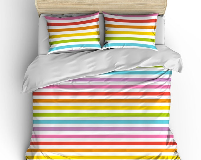 Rainbow Stripe Bed Duvet, Matching Bedroom Set, Duvet Cover, Dorm Decor, Grad Gift, Teen Birthday Gift, GLBTQ gift, Preppy room decor, beds